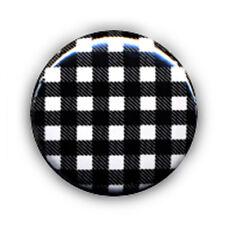 Badge VICHY motif carreaux Noir et Blanc 80's rockabilly rock punk ska pop Ø25mm