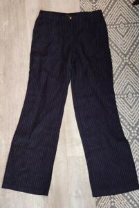 Hobbs Linen Trousers UK 8 Wide Leg Navy Pinstripe Pockets Smart