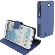 Flip Cover Case Buchtasche Schutzhülle für Samsung Galaxy Note 2 N7100 Blau neu