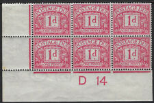 GB POSTAGE DUE : 1914 1d Ctrl D14  block of six ( stamps MNH) 'POSTAGE' inverted