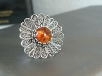 LARGE Sterling Silver 925 Amber Filigree Flower Floral Designer Ring Size 9