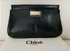 NEW Chloe Clutch Pouch Bag Purse Black Gold Hardware Textured Vegan Leather