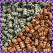 100 Perles Legno Tubo 2 coloris Marrone chiaro / Cachi