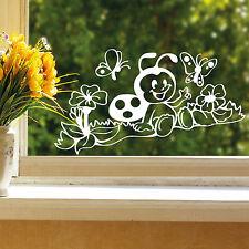 11090 Wandtattoo-Loft Fenster Aufkleber Marienkäfer Wiese Schmetterlinge Blumen