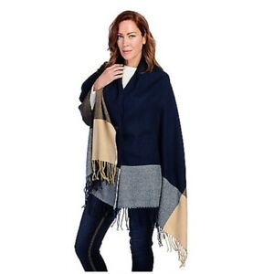 NWT Harve Benard Brushed 2 Button Fringe Convertible Scarf Wrap Navy $48
