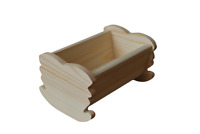 WOODEN SMALL CRADLE TOY WHIT NATURAL PINE WOOD