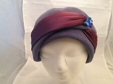 Vintage Ladies Hat Wool Purple Hat W/ Burgundy Sateen Ribbon Blue Rhinestones!