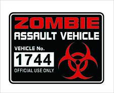 Zombie Assault Vehicle License Vinyl Decal Sticker Apocalypse Car Window Decor