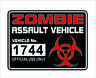 Zombie Assault Vehicle License Vinyl Decal Sticker Apocalypse Car Window Decor