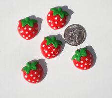 Strawberry Resin Flatbacks hair bow embellishments scrapbooking crafts glue on