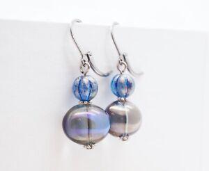 Artisan Blue Glass Beaded Earrings (Stainless Steel Hooks) - Free Shipping