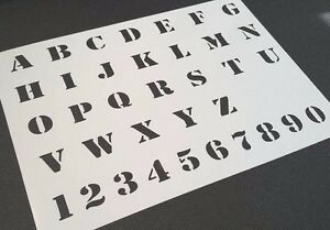 Army Style Alphabet and Numbers Airbrushing Mylar Reusable Stencil Arm Letters