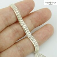 Women Italy 925 Sterling Silver 5mm Mesh Rope Chain Hand Bracelet Wrist Band 7""