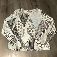Chico's Long Sleeve Shirt Womens 0 Small 4 White Patterned