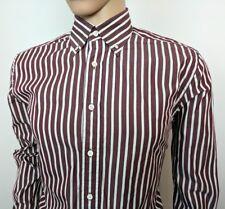 "Gant Mens Dress Shirt Oxford Two Ply 180s Brown White Stripe Size M Chest 42"""