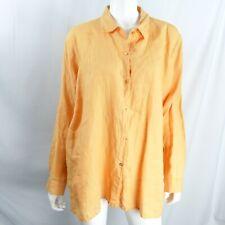 Eileen Fisher XL Woman Organic Irish Linen Tunic Top Blouse Shirt Orange Tunic
