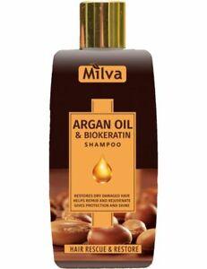 Milva ARGAN OIL & BIOKERATIN SHAMPOO Nourishing Revitalising Dry Hair