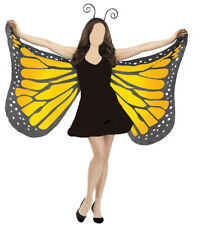 Orange Butterfly Wings With Headband Antenna Monarch Style Costume Set