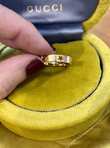 Genuine 18k Yellow Gold Gucci Icon Star Ring 4mm Band Size 15 Rp$1225 Hallmarked