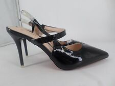 Big Tree Crossover Bride Cheville Verni Noir Pointu Chaussures UK 6 EU 39 LG078 BB 01