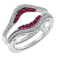 Pave Set Solitaire Enhancer White Ruby Diamond Ring Guard Wrap 14k White Gold FN