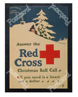Historic WWI Recrutiment Poster Red Cross Christmas roll call Postcard