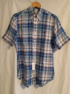 New brooks brothers blue check 100% linen short sleeve shirt size small