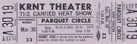 CANNED HEAT / BOB HITE 1969 HALLELUJAH TOUR UNUSED KRNT TICKET NMT 2 MNT / No. 1