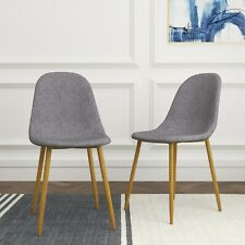 2 Designer Style Dinner/Dining Chairs Modern Kitchen Seat Pair Fabric in Grey