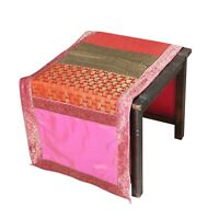 Indian Brocade Silk Bed Runner Rectangular Dining Party Wedding Table Cover