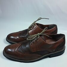 NICE Men's Penguin Welton WING TIP Dress Shoes Oxfords 2 Tone Brown Leather-10