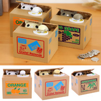 Automatic Stealing Money Cat Kitty Piggy Bank Coin Saving Box Case Xmas Gift
