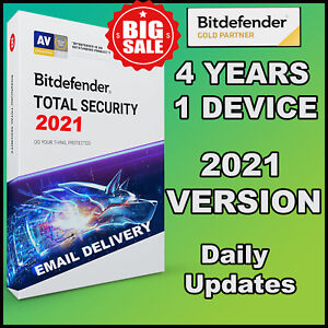 BITDEFENDER TOTAL SECURITY 2021 - 4 YEARS 1 DEVICE ACTIVATION - GENUINE - GLOBAL