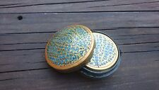 INDIA HAND MADE & HAND PAINTED ROUND TRINKET BOX PAPIER MACHE WITH 6 COASTERS