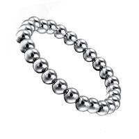 Frauen 8mm Edelstahl Runden Perlen Charme Elastisches Armband Armreif Silber