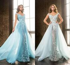 New Detachable Train Wedding Dresses Bridal Gowns Appliques Beaded Wedding Gowns