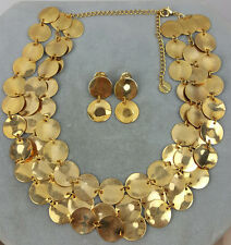 Avon multi-strand necklace gold coin bib set with dangle earrings