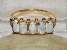 9ct Yellow Gold on Silver Opal Ladies 5 Stone Victorian Style Ring - size N