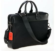 Black Canvas Briefcase Cross body satchel Genuine Leather Trim for Men and Women