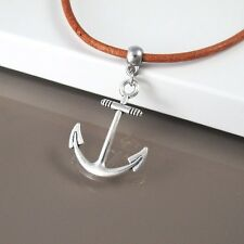 Silver Sailor Boat Anchor Pendant Brown Leather Choker Surfer Necklace Jewellery