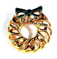 Festive Brass Wreath Holiday Brooch Pin
