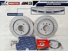 BMW E36 M3 EVO REAR DIMPLED AND GROOVED BRAKE DISC DISCS MINTEX PADS SHOES KIT