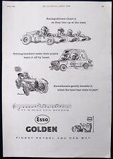 ESSO GOLDEN MOTOR CAR OIL RUSSELL BROCKBANK ARTIST MAGAZINE ADVERT 1961