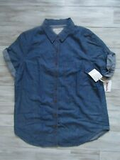 GIRL KRAZY Women's Blue Denim Short Sleeve Boyfriend Shirt Size XL NWT