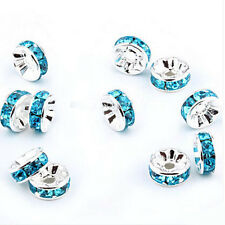 100Pcs Silver Plated Crystal Rhinestone Rondelle Spacer Beads 8mm