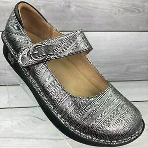 Alegria Silver Mary Jane Hook And Loop Comfort Shoes PAL-713 Sz 10.5-11 (EUR 41)