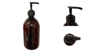 Amber Lotion Pump Bottle 500ml Cylinder Pet Plastic Black Pump X10