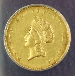 1855 Type 2 $1 One Dollar Gold Coin ANACS AU-55 Details Cleaned