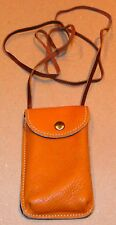 Roots Light Brown Leather Crossbody Purse Bag