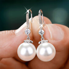 Gorgeous 925 Silver Drop Earrings for Women White Pearl Jewelry A Pair/set